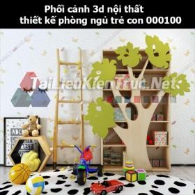 Phối cảnh 3d nội thất thiết kế phòng ngủ trẻ con 000100