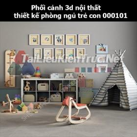 Phối cảnh 3d nội thất thiết kế phòng ngủ trẻ con 000101