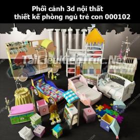 Phối cảnh 3d nội thất thiết kế phòng ngủ trẻ con 000102
