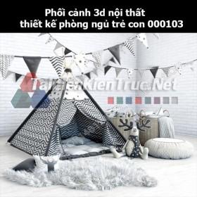 Phối cảnh 3d nội thất thiết kế phòng ngủ trẻ con 000103