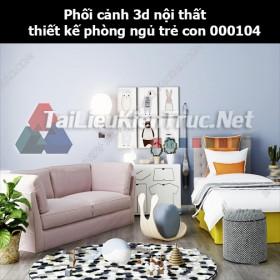 Phối cảnh 3d nội thất thiết kế phòng ngủ trẻ con 000104
