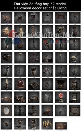 Thư viện 3d tổng hợp 52 model Halloween decor set chất lượng