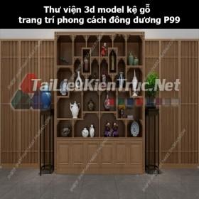 Thư viện 3d model kệ gỗ trang trí phong cách đông dương P99