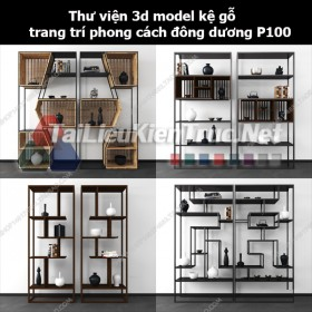Thư viện 3d model kệ gỗ trang trí phong cách đông dương P100