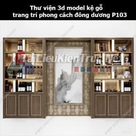 Thư viện 3d model kệ gỗ trang trí phong cách đông dương P103