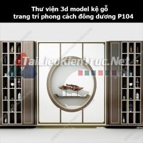 Thư viện 3d model kệ gỗ trang trí phong cách đông dương P104