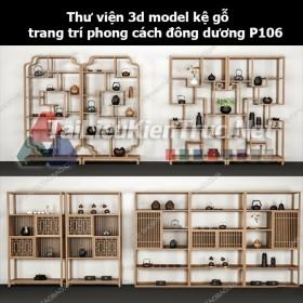 Thư viện 3d model kệ gỗ trang trí phong cách đông dương P106