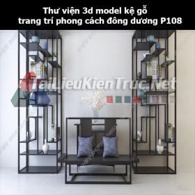 Thư viện 3d model kệ gỗ trang trí phong cách đông dương P108