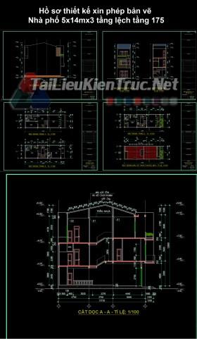 Hồ sơ thiết kế xin phép bản vẽ Nhà phố 5x14mx3 tầng lệch tầng 175