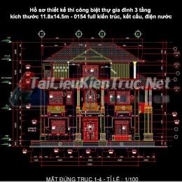 Hồ sơ thiết kế thi công biệt thự gia đình 3 tầng kích thước 11.8×14.5m 0154 full kiến trúc, kết cấu, điện nước