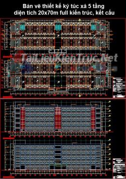 Bản vẽ thiết kế ký túc xá 5 tầng diện tích 20x70m full kiến trúc, kết cấu