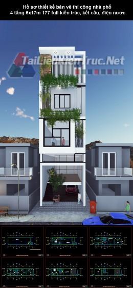 Hồ sơ thiết kế bản vẽ thi công nhà phố 4 tầng 5x17m 177 full kiến trúc, kết cấu, điện nước