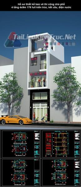 Hồ sơ thiết kế bản vẽ thi công nhà phố 4 tầng 4x9m 178 full kiến trúc, kết cấu, điện nước