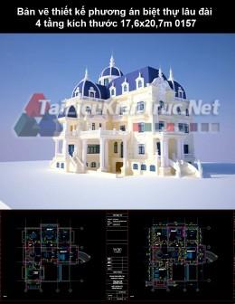 Bản vẽ thiết kế phương án biệt thự lâu đài 4 tầng kích thước 17,6x20,7m 0157
