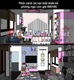 Phối cảnh 3d nội thất thiết kế phòng ngủ con gái 000105