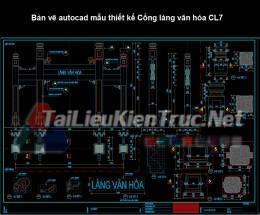 Bản vẽ autocad mẫu thiết kế Cổng làng văn hóa CL7