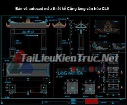 Bản vẽ autocad mẫu thiết kế Cổng làng văn hóa CL9