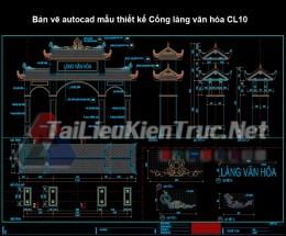 Bản vẽ autocad mẫu thiết kế Cổng làng văn hóa CL10