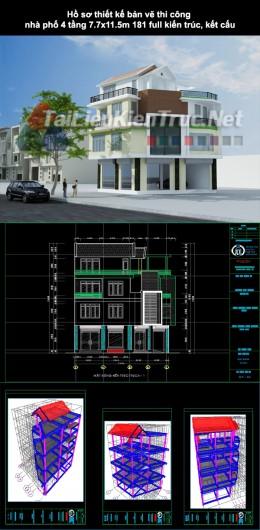 Hồ sơ thiết kế bản vẽ thi công nhà phố 4 tầng 7,7×11,5m 181 full kiến trúc, kết cấu