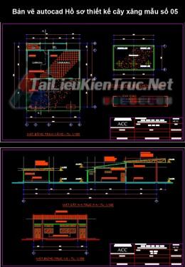 Bản vẽ autocad Hồ sơ thiết kế cây xăng mẫu số 05