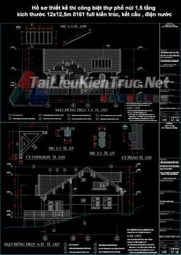 Hồ sơ thiết kế thi công biệt thự phố núi 1,5 tầng kích thước 12x12,5m 0161 full kiến trúc, kết cấu, điện nước
