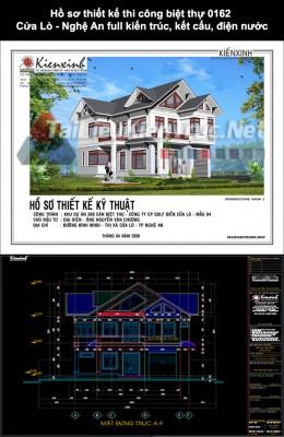 Hồ sơ thiết kế thi công biệt thự 0162 Cửa Lò - Nghệ An full kiến trúc, kết cấu, điện nước