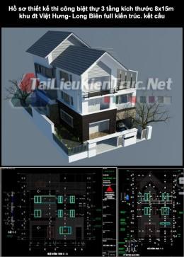 Hồ sơ thiết kế thi công biệt thự 3 tầng kích thước 8x15m 0163 khu đt Việt Hưng- Long Biên full kiến trúc, kết cấu
