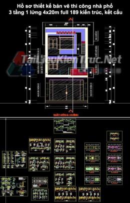Hồ sơ thiết kế bản vẽ thi công nhà phố 3 tầng 1 lửng 4x20m 189 full kiến trúc, kết cấu