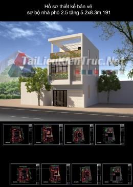 Hồ sơ thiết kế bản vẽ sơ bộ nhà phố 2.5 tầng diện tích 5.2x8.3m 191