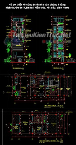 Hồ sơ thiết kế công trình nhà văn phòng 6 tầng kích thước 6x14,5m full kiến trúc, kết cấu, điện nước