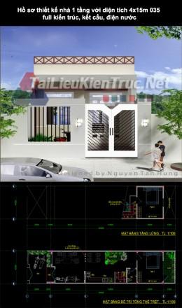 Hồ sơ thiết kế nhà 1 tầng với diện tích 4x15m 035 full kiến trúc, kết cấu, điện nước