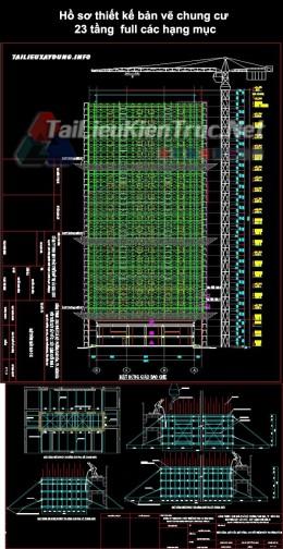Hồ sơ thiết kế bản vẽ chung cư 23 tầng full các hạng mục