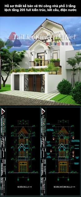 Hồ sơ thiết kế bản vẽ thi công nhà phố 3 tầng lệch tầng 5x15m 205 full kiến trúc, kết cấu, điện nước