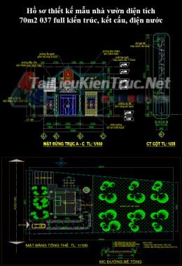 Hồ sơ thiết kế mẫu nhà vườn diện tích 70m2 037 full kiến trúc, kết cấu, điện nước