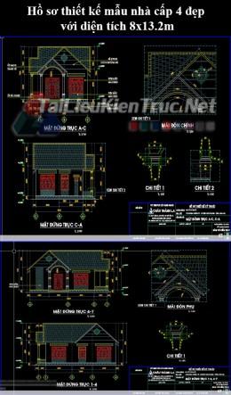 Hồ sơ thiết kế mẫu nhà cấp 4 đẹp với diện tích 8x13.2m