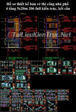 Hồ sơ thiết kế bản vẽ thi công nhà phố 4 tầng 5x20m 206 full kiến trúc, kết cấu