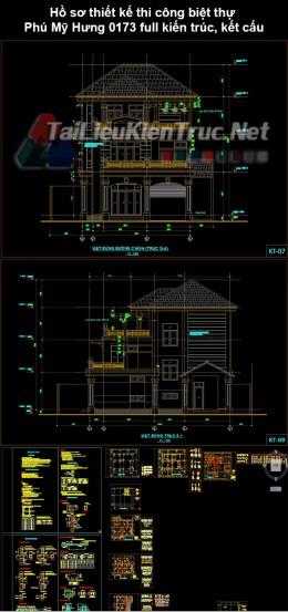 Hồ sơ thiết kế thi công biệt thự Phú Mỹ Hưng 0173 full kiến trúc, kết cấu