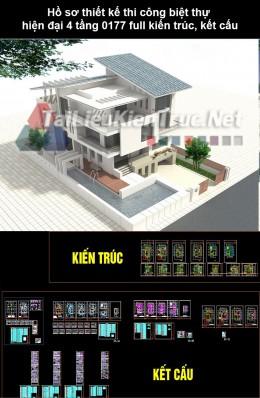Hồ sơ thiết kế thi công biệt thự hiện đại 4 tầng 0177 full kiến trúc, kết cấu