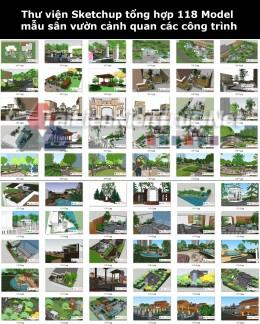 Thư viện Sketchup tổng hợp 118 Model mẫu sân vườn cảnh quan các công trình