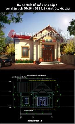 Hồ sơ thiết kế mẫu nhà cấp 4 với diện tích 10x16m 041 full kiến trúc, kết cấu