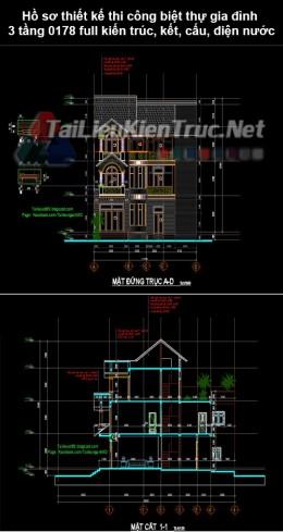 Hồ sơ thiết kế thi công biệt thự gia đình 3 tầng 0178 full kiến trúc, kết cấu, khối lượng