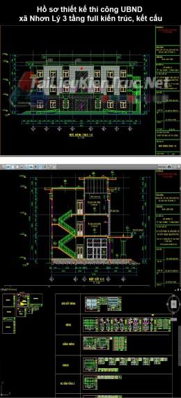 Hồ sơ thiết kế thi công UBND xã Nhơn Lý 3 tầng full kiến trúc, kết cấu