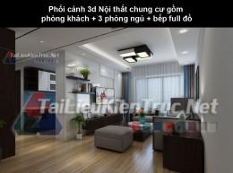 Phối cảnh 3d Nội thất chung cư gồm phòng khách + 3 phòng ngủ + bếp full đồ