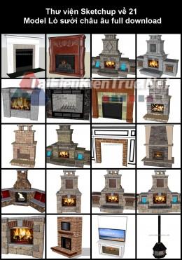 Thư viện Sketchup về 21 Model Lò sưởi châu âu full download