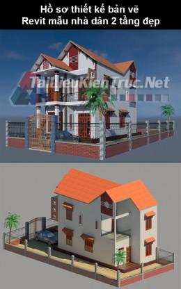 Hồ sơ thiết kế bản vẽ Revit mẫu nhà dân 2 tầng đẹp