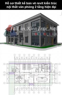 Hồ sơ thiết kế bản vẽ Revit kiến trúc nội thất văn phòng 2 tầng hiện đại