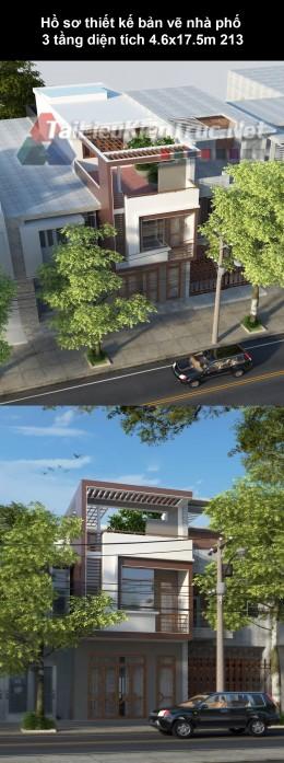 Hồ sơ thiết kế bản vẽ nhà phố 3 tầng diện tích 4.6x17.5m 213