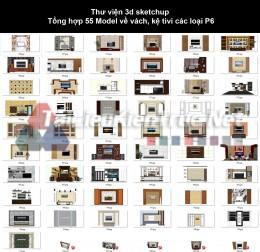 Thư viện 3d sketchup Tổng hợp 55 Model về vách, kệ tivi các loại P6