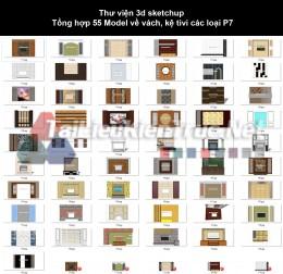 Thư viện 3d sketchup Tổng hợp 55 Model về vách, kệ tivi các loại P7