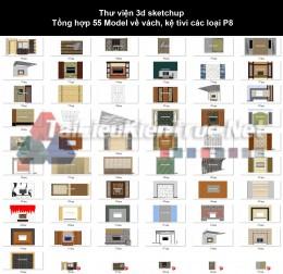 Thư viện 3d sketchup Tổng hợp 55 Model về vách, kệ tivi các loại P8